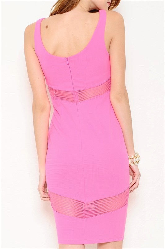 On The Avenue Mesh Cutout Midi Dress - Hot Pink - Daily Chic