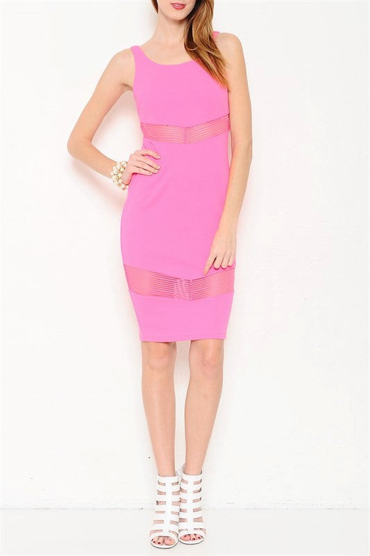 On The Avenue Mesh Cutout Midi Dress - Hot Pink