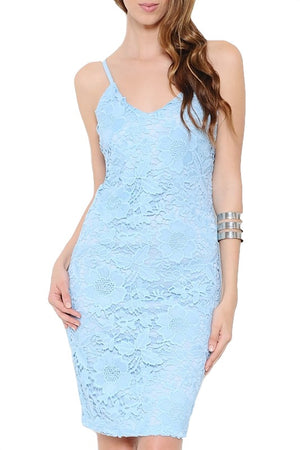 No Place I'd Rather Be Lace Dress - Light Blue - Daily Chic