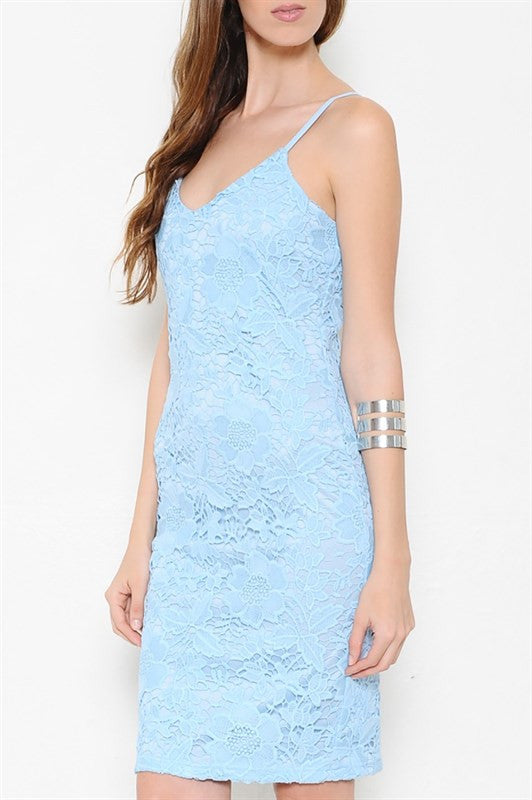 No Place I'd Rather Be Lace Dress - Light Blue
