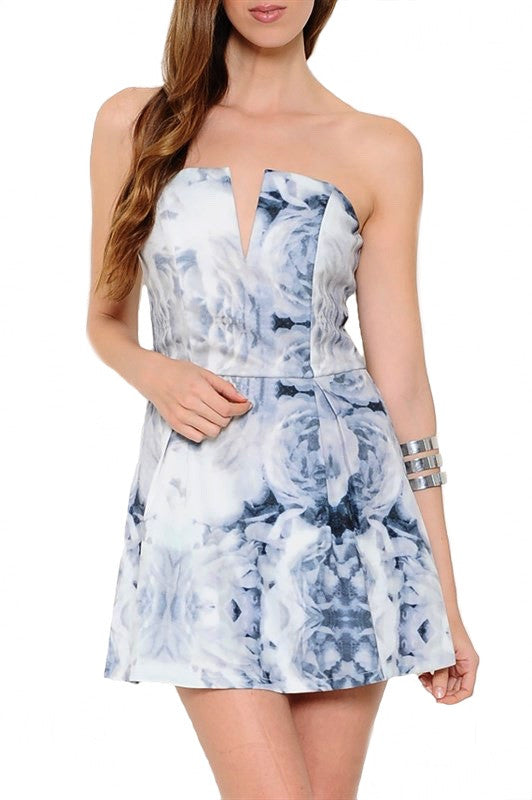 Vivian Monochrome Rose Print Dress - Grey