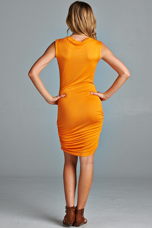 Fools Ruche In Dress - Tangerine
