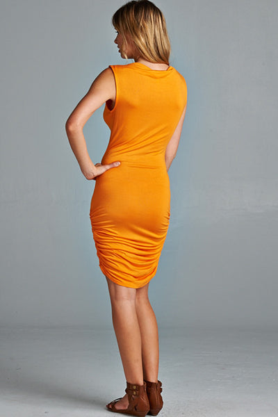 Fools Ruche In Dress - Tangerine - Daily Chic