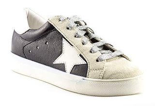 Shine Super Star Sneakers - Black + Metallic Silver - Daily Chic