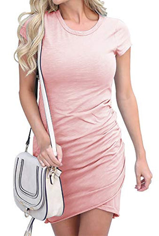 Stella Short Sleeve Ruched T-Shirt Dress - Blush, Black or Grey - Daily Chic