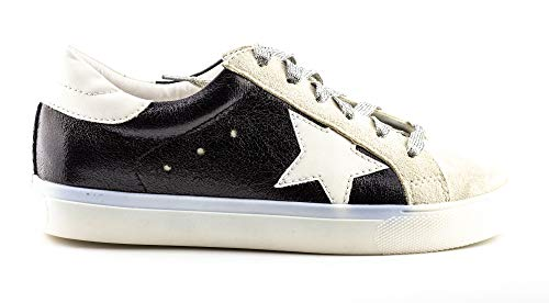 Shine Super Star Sneakers - Black + Metallic Silver *PRE ORDER* - Daily Chic