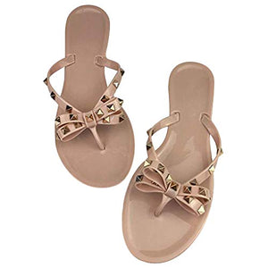 Valentina Studded Bow Sandals - Beige or Black
