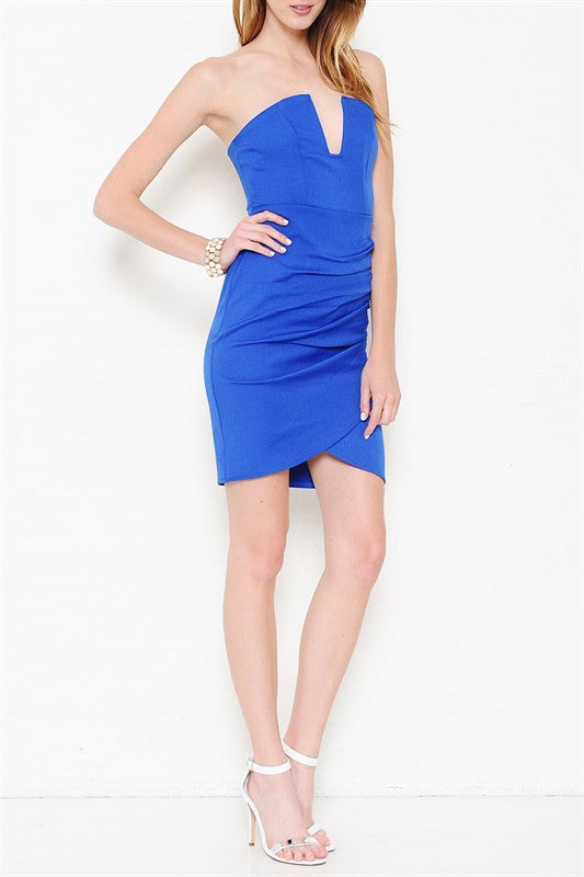 Hearts Desire Strapless Dress - Royal Blue - Daily Chic