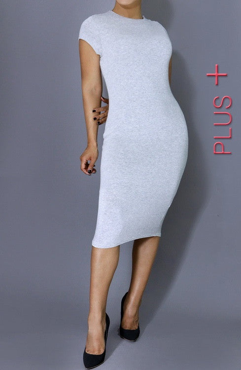 Perfect Day Bodycon Midi Dress - Grey