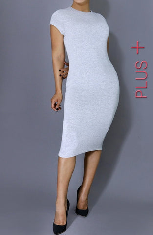 Perfect Day Bodycon Midi Dress - Grey - Daily Chic