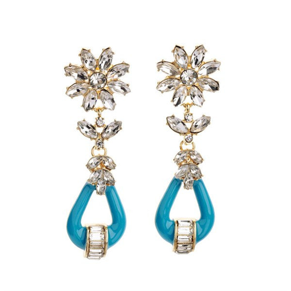 Bridget Drop Earrings - Turquoise + Crystal