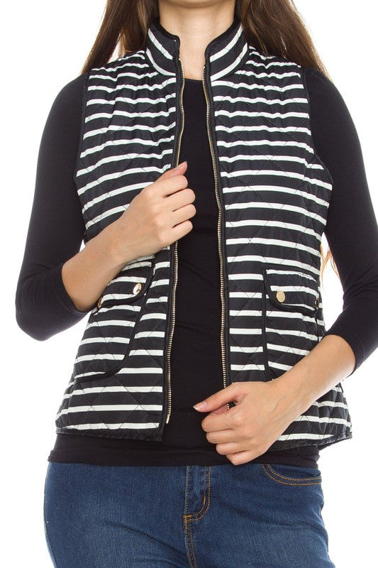 Highlands Striped Quilted Vest - Black + White - Daily Chic
