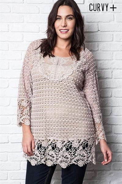 Pasadena Lace Tunic Top - Blush - Daily Chic