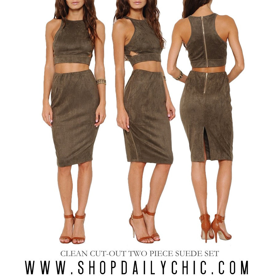 Clean Cut Out Two Piece Suede Set Olive Daily Chic