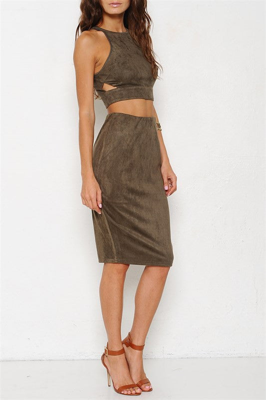 Clean Cut-out Two Piece Suede Set - Olive