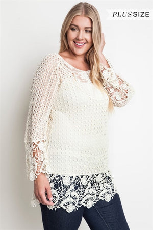 Pasadena Lace Tunic Top - Cream - Daily Chic