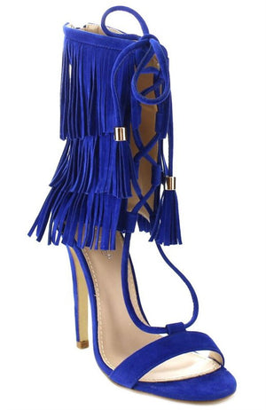 Fiona Fringe Lace Up Heels - Blue - Daily Chic