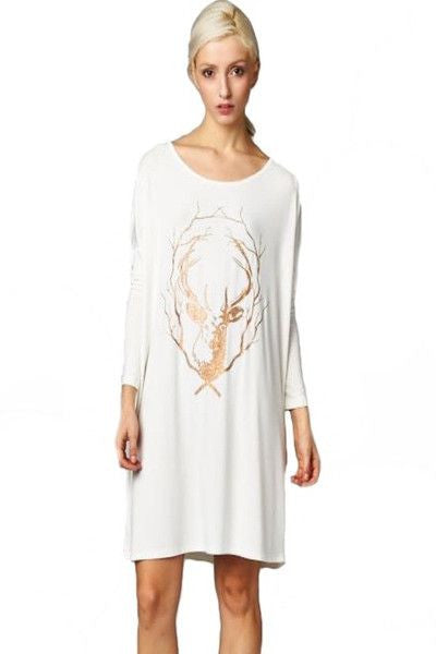 Chalet Chic Oversized Tunic Top - Ivory + Gold