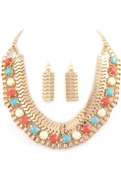 Egyptian Queen Necklace + Earring Set- Mint + Coral
