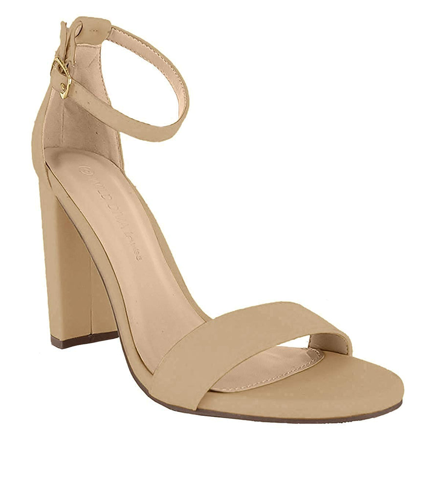 Essie Chunky Heeled Sandals - Natural - Daily Chic