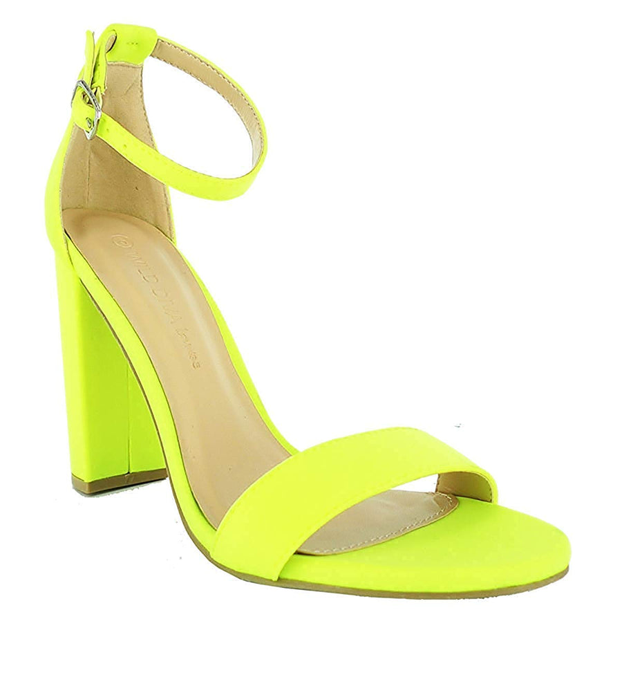 Essie Chunky Heeled Sandals - Neon Yellow - Daily Chic