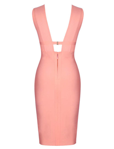 Bella Deep V Neck Bodycon Bandage Dress - Peach - Daily Chic