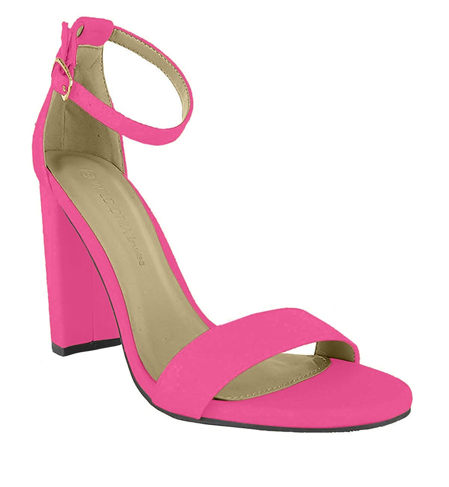 Essie Chunky Heeled Sandals - Hot Pink - Daily Chic