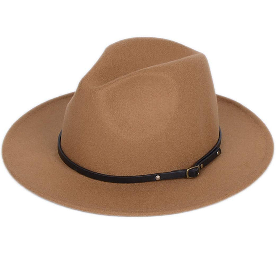 District Belt Buckle Fedora Hat - Camel, Dark Khaki, Coffee, Black - Daily Chic