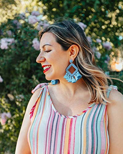 Baha Beaded Silk Tassel Earrings - White, Turquoise, Red, Black, Mint, Beige, Light Blue, Steel Blue - Daily Chic