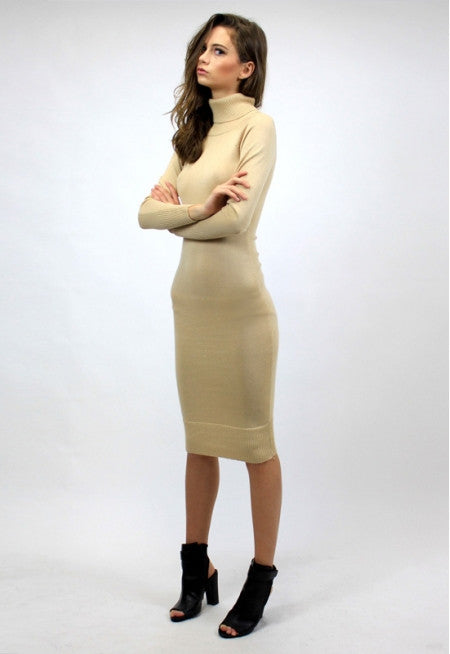 Monaco Knit Turtleneck Dress - Beige RESTOCKED!