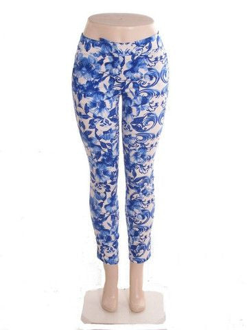 Lilly Lifestyle Cropped Floral Pants - Blue + White