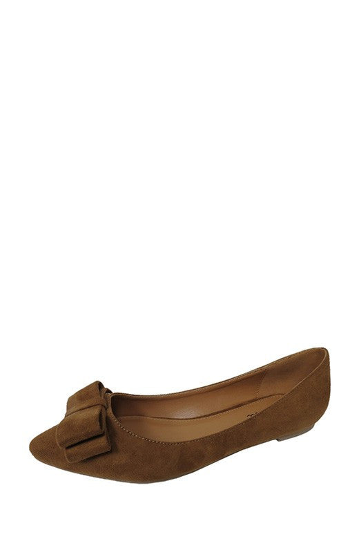 Hetty Bow Accent Flats - Tan