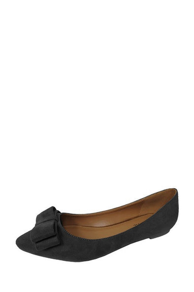 Olivia Bow Accent Flats - Black - Daily Chic