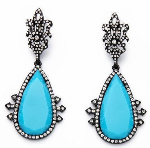 Simmi Pavé Drop Earrings - Turquoise + Crystal - Daily Chic