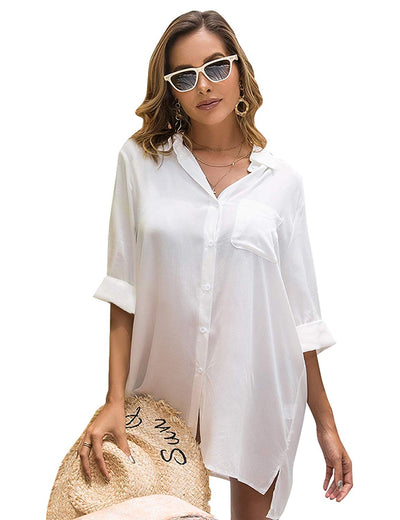 Nantucket Swimsuit Button Down Cover Up Shirt - White, Black or Seafoam - Daily Chic