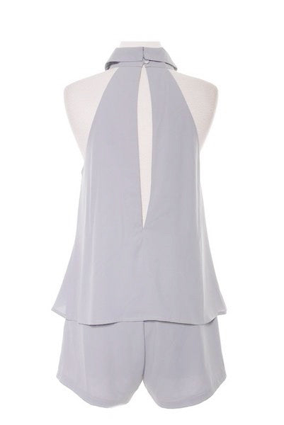 Malin High Neck Romper - Grey