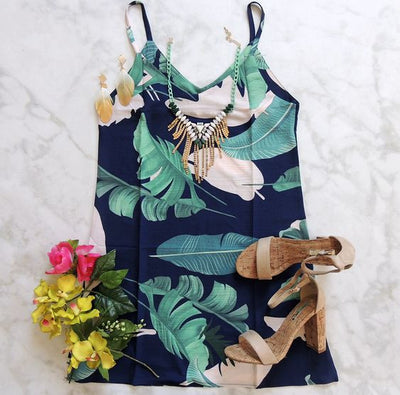Tortuga Tropics Print Dress - Navy + Multi - Daily Chic