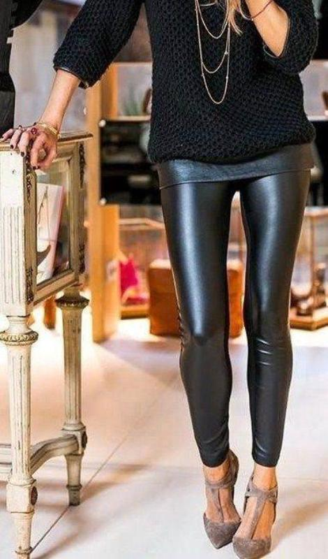 Zoe Leather Look Leggings - Black RESTOCKED