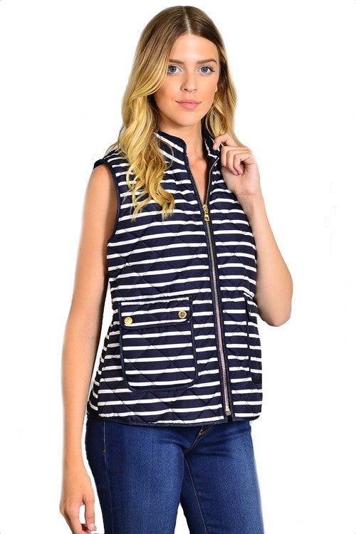 Highlands Striped Quilted Vest - Navy + White