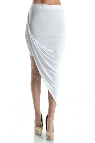 Winter White Asymmetrical Skirt- White - Daily Chic