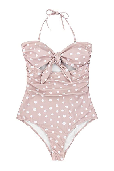 Bardot Knot Cutout Bathing Suit - Blush Polka Dots, Black, Pink, Orange, White, or Red - Daily Chic