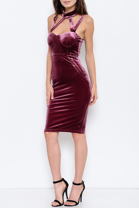 Celeste Velvet Choker Midi Dress - Iris - Daily Chic