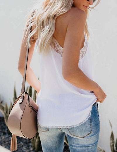 Essential Lace Trim V Neck Cami Tank - White or Black - Daily Chic