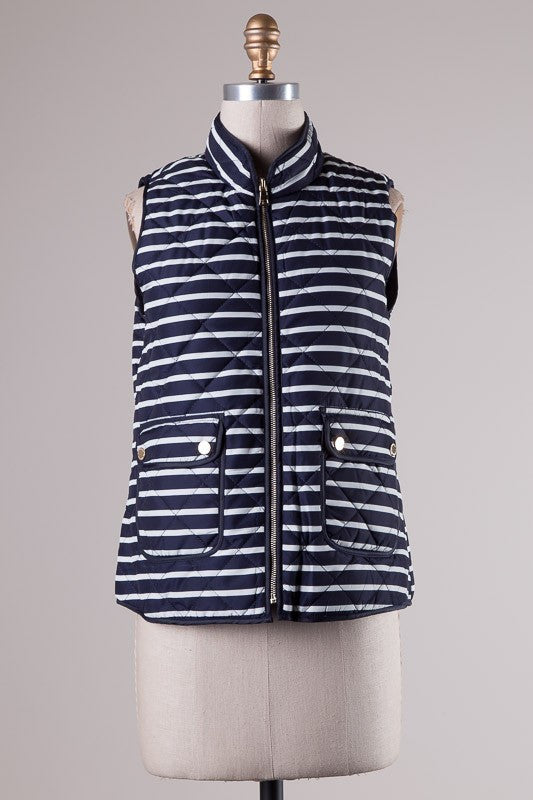 Highlands Striped Quilted Vest - Navy + White - Daily Chic