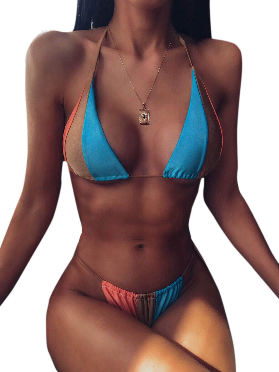 Tequila Sunrise String Bikini Set - Turquoise + Orange - Daily Chic