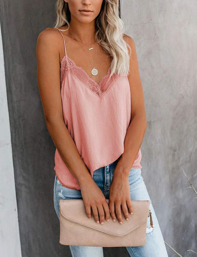 Essential Lace Trim V Neck Cami Tank - Blush - Daily Chic