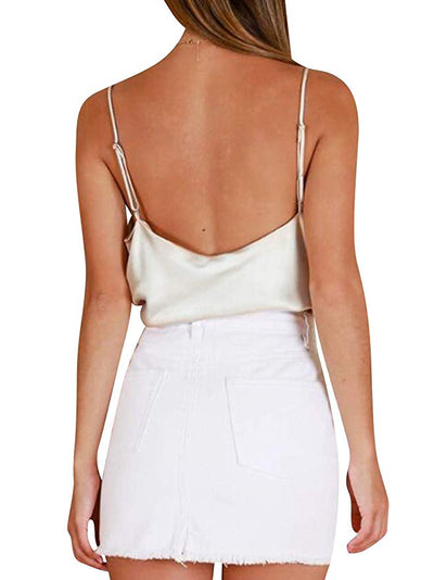 Simplicity Satin Cami Tank - Golden, Hunter Green, Black, White - Daily Chic