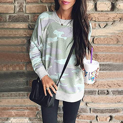 Patton Camo Print Pullover Sweatshirt - Light Green - Daily Chic