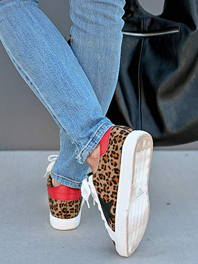 Shine Super Star Sneakers - Leopard + Red - Daily Chic