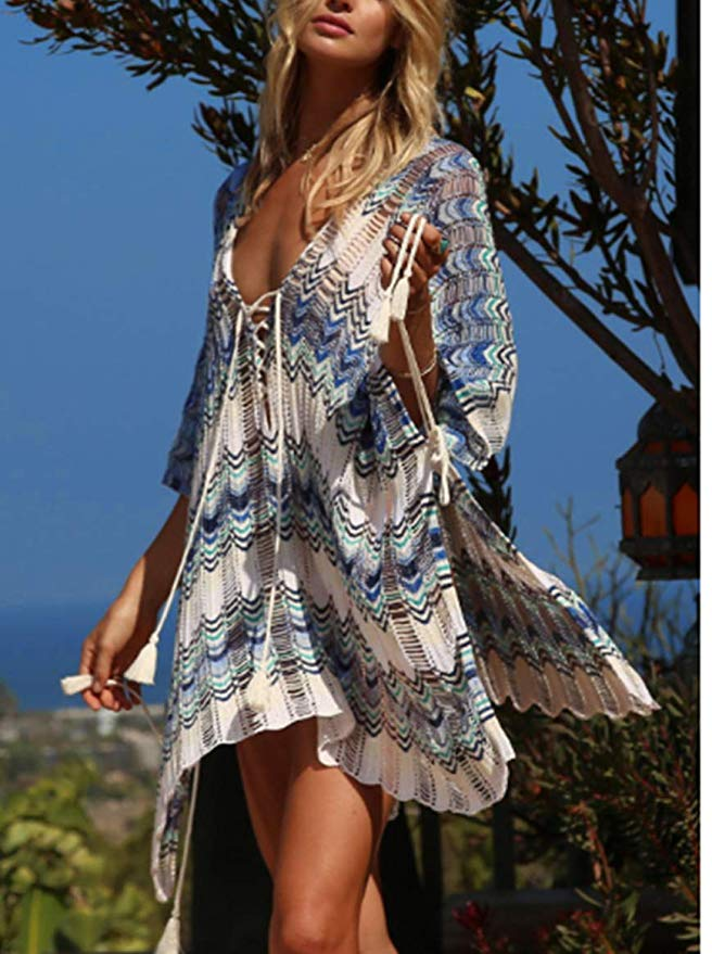 Wanderer Bikini Swimsuit Cover Up - Multi Blue - Daily Chic